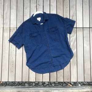J CREW Dark Blue Denim Short Sleeve Button Down